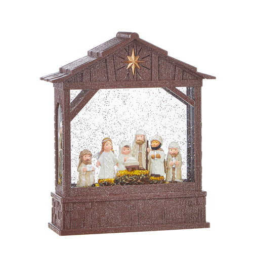 Lighted Knit Nativity Scene Holiday Water Snow Lantern - 10-in