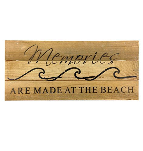 Memories Are Made At The Beach (with Waves) - Reclaimed Wood Art Sign - 14-in x 6-in - Mellow Monkey