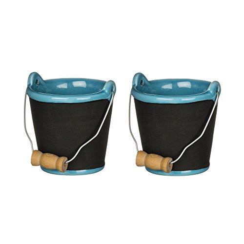 Chalkboard Beach Pail Ceramic Ornaments - Set of 2 - Mellow Monkey
