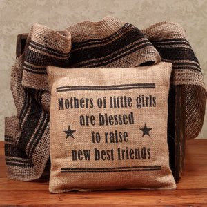 Mothers of Little Girls Are Blessed - French Flea Market Burlap Accent Throw Pillow - 8-in x 8-in - Mellow Monkey