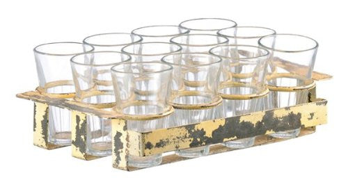 Glasses with Vintage Inspired Iron Stand (Set of 12) - Mellow Monkey