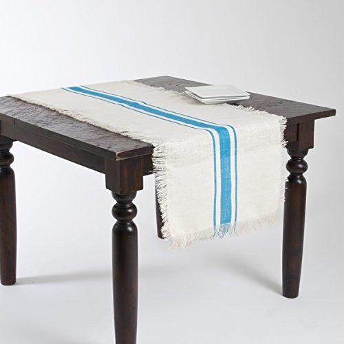 Striped Fringed Jute Table Runner (Turqouise) - Mellow Monkey
