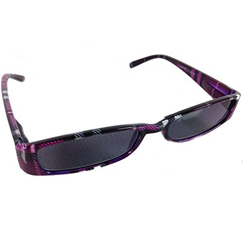 Mad Plaid Sunglass Readers - Reading Sun Glasses with Coordinated Case - Chic Plaid Pattern and Colors (Eggplant, +2.0) - Mellow Monkey
