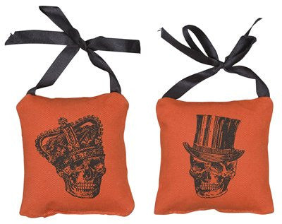 Mr. and Mrs. (His and Hers) Skull Mini Hanging Pillow Set - Orange with Black Graphic - Measures 3-1/2-in Square - Mellow Monkey