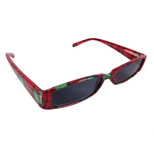 Mad Plaid Sunglass Readers - Reading Sun Glasses with Coordinated Case - Chic Plaid Pattern and Colors (Cherry Red, +2.5) - Mellow Monkey