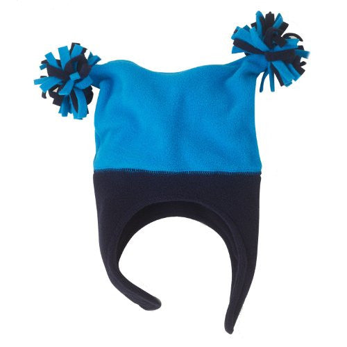 Microfleece PomPom Hat with Ear Flaps for Boys and Girls - Alta Blue and Black (Small (6-12 mo)) - Mellow Monkey