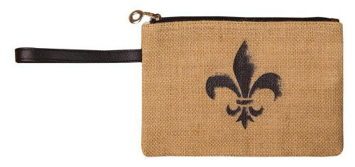 Burlap Fleur de Lis Zippered Clutch - 9-in x 6-in - Mellow Monkey