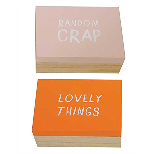 Flirt Collection Lovely Things and Random Crap - Wooden Jewelry Trinket Storage Boxes with Phrase Set of 2 - 5-in x 3-1/2-in - Mellow Monkey