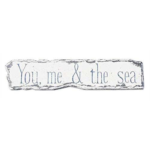 You and me By the Sea - Hand Painted Driftwood Wall Door Sign - 14-in - Mellow Monkey