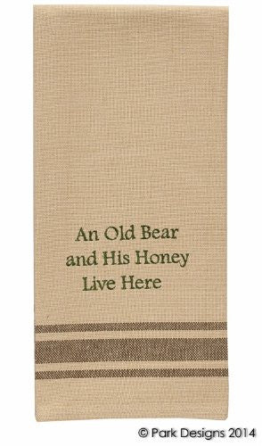 Cabin Lake and Lodge Decor - Embroidered Cotton Kitchen Dish Towel (Old Bear and His Honey) - Mellow Monkey
