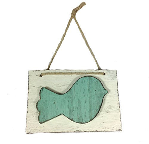 Hand Painted Decorative Birdy Block Wall Door Hanging Art - 6-1/4-in (Aqua) - Mellow Monkey