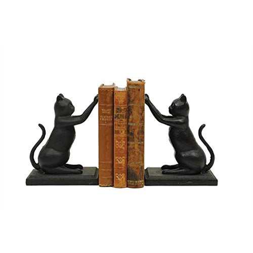 Cast Iron Cat Bookends, Black, Set of 2 - 7-1/4-in - Mellow Monkey