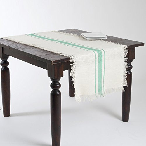 Striped Fringed Jute Table Runner (Sea Green) - Mellow Monkey