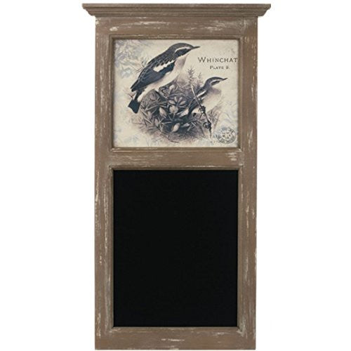 Framed Antique Whinchat Print with Chalkboard - 32-in Rustic Messageboard - Mellow Monkey