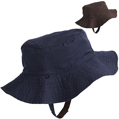 Floppy Brim Reversible Cotton Sun Hat for Girls Blue / Brown (Ages 4-7) - Mellow Monkey