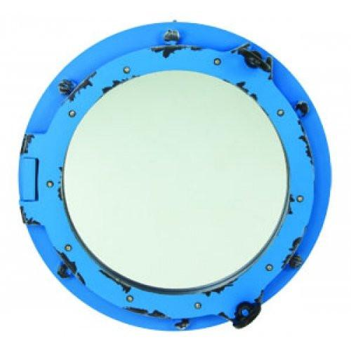 Nautical Distressed Blue Port Hole Decorative Mirror - 17-in
