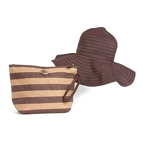 Cappelli Straworld Striped Pack-A-Hat Sun Hat with Straw Tote Hand Bag (Tan & Brown) - Mellow Monkey