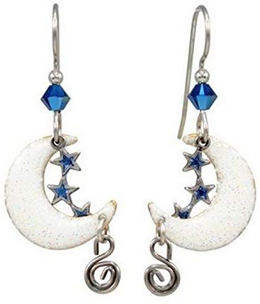 Silver Forest Goldtone Surgical Steel Dangle Moon Stars & Crescent Earrings