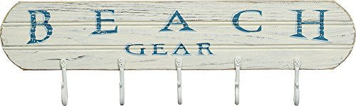 Beach Gear - Beach Lake Pool Style Distressed Coat Hanger Board - 5 Hooks - Mellow Monkey
