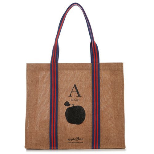 Apple & Bee - A Is For Apple - Jute Eco Tote Bag - Mellow Monkey