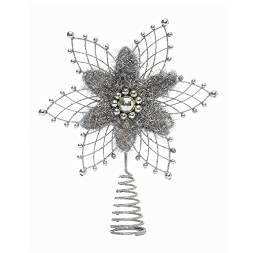 Silent Night Wire Tree Topper with Beads, Silver - Mellow Monkey