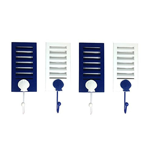 Blue and White Shutter Scallop Shell Hook Set - 4 Pack - Coastal Decor Hangers 9-in - Mellow Monkey