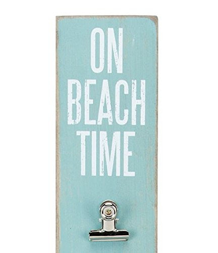 """On Beach Time"" Memo Photo Wall Hanging Clipboard 23-in x 3-in (Aqua, White) - Mellow Monkey"