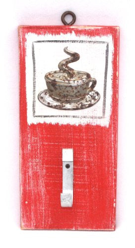 Blackwater Folk Art Distressed Hook Board (Coffee Cup Red) - Mellow Monkey