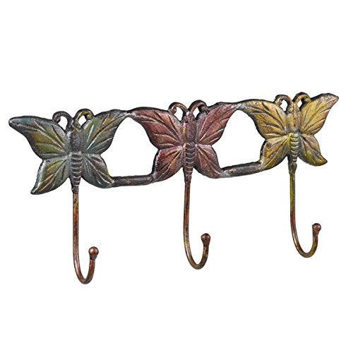Butterfly Trio Cast Iron Wall Hook for Coats, Aprons, Hats, Towels, Pot Holders, More - 3 Hooks - Mellow Monkey