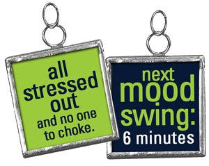 Square Charm Sign Pendant (Next Mood Swing 6 Minutes (Blue/Green)) - Mellow Monkey