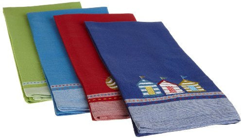 DII Summer Fun Embroidered Dishtowels, Set of 4 - Mellow Monkey