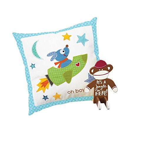 Boy's Nursery Decorative Gift Set - Oh Boy! Cotton Pillow with Rocket Dog and Sock Monkey Sitter - Mellow Monkey