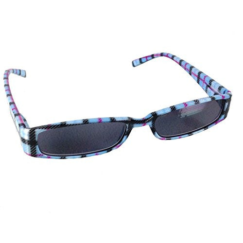 Mad Plaid Sunglass Readers - Reading Sun Glasses with Coordinated Case - Chic Plaid Pattern and Colors (Light Sky Blue, +2.0) - Mellow Monkey