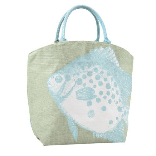 Two's Company Pastel Aquatic Burlap Jute Tote Bag Town City Beach Market (Big Fish) - Mellow Monkey