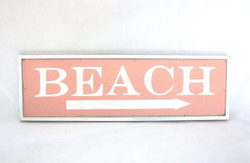 This Way to the Beach Weathered Coastal Decorative Framed Sign with Arrow - 23-in (Palm Beach Pink) - Mellow Monkey