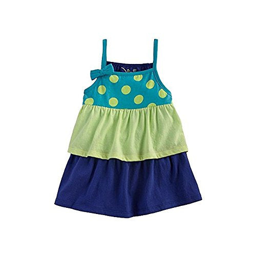 Beach Baby Polka Dot Tiered Baby Doll Tank for Toddlers Girls (3T, Turquoise Dots) - Mellow Monkey