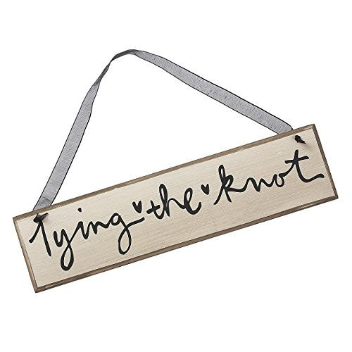 Tying the Knot Decorative Hanging Signs - Black Script on Ivory with Black Ribbon - 12-in - Mellow Monkey