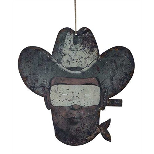 Masked Cowboy - Reclaimed Tin Cowboy Shaped Wall Art Sign - 11-1/2-in x 11-3/4-in - Mellow Monkey