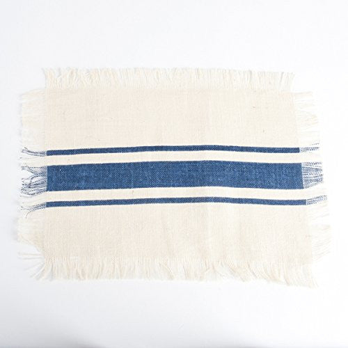 Striped Fringed Jute Placemat Set of 4 (Navy) - Mellow Monkey