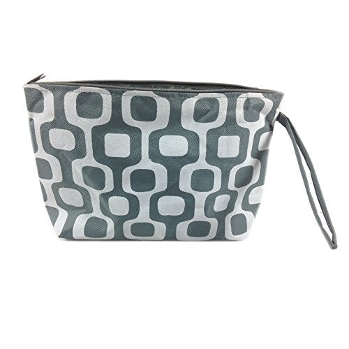 Colorful Geometric Floral Cosmetic Bag - 10-3/4-in (Grey & White Squares) - Mellow Monkey