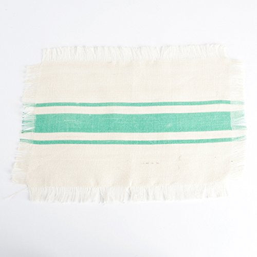 Striped Fringed Jute Placemat Set of 4 (Sea Green) - Mellow Monkey