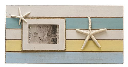 Color Block Starfish Beach Cottage Photo Frame - 20-1/4 x 10-in (Holds 4x6 photo) - Mellow Monkey