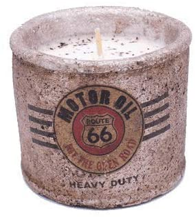 Swan Creek Route 66 Motor Oil Candle Nostalgic Highway Small Round Pot - Cafe Au Lait