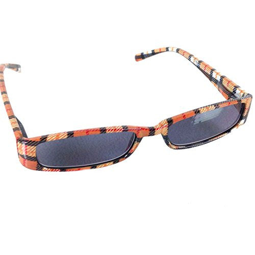 Mad Plaid Sunglass Readers - Reading Sun Glasses with Coordinated Case - Chic Plaid Pattern and Colors (Tangerine, +2.0) - Mellow Monkey