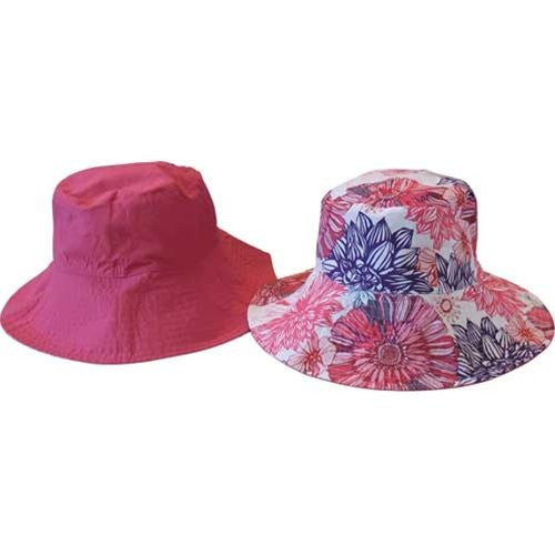 Sun Lily Fashion Flips Reversible Sun Hat with Tote - Womens (Rasberry Burst) - Mellow Monkey