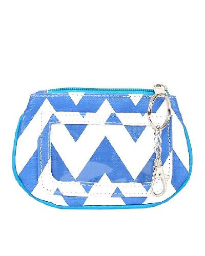 Chevron Zippered ID and Coin Pouch Purse - Faux Leather with Key Ring (Blue) - Mellow Monkey