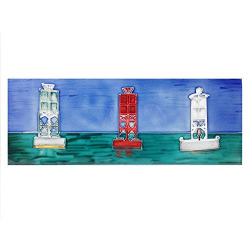 Three Buoys Coastal Nautical Decorative Wall Hanging Tile 16-in x 6-in - Mellow Monkey