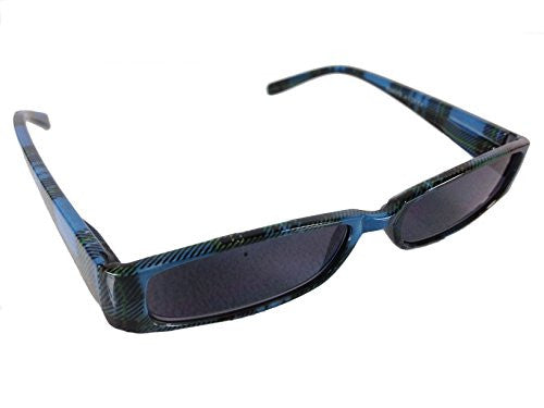 Mad Plaid Sunglass Readers - Reading Sun Glasses with Coordinated Case - Chic Plaid Pattern and Colors (Sapphire, +1.50) - Mellow Monkey