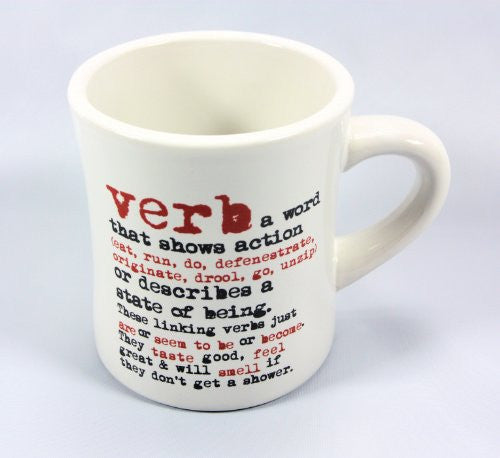 grammarRULES! Diner Style Coffee Mugs - Proper English Lessons on a Heavy Duty Coffee Mug (Verb) - Mellow Monkey