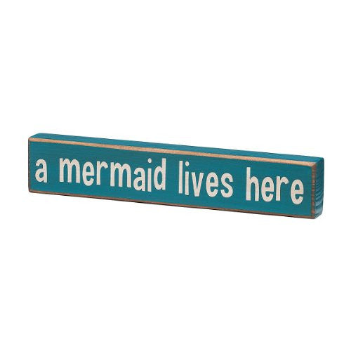 A Mermaid Lives Here - Vintage Coastal Mini Wood Sign - 8-in - Mellow Monkey
